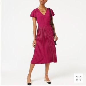 J.Crew factory pleated midi wrap style dress